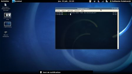Notification de GNOME Shell