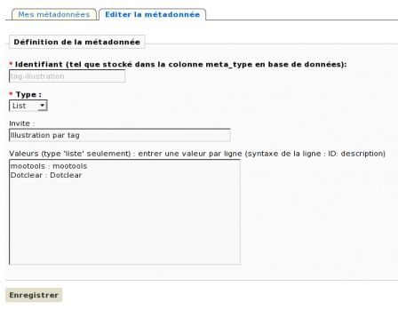 Configuration du plugin MyMeta